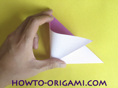 Flower origami instruction 5 - how to origami a morning glory flower - easy origami instruction for kids