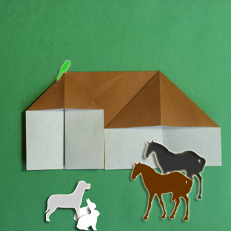 Horse barn origami - How to make barn origami instruction - Kid's origami