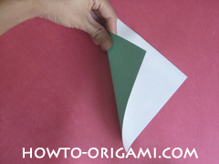 Flower stem origami - how to origami stem for flower instruction 1 for children