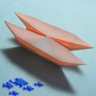 Boats origami - how to origami twin boats instruction